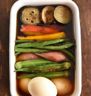 そうめんのトッピングにピッタリ!ゆで卵と夏野菜の揚げ浸し