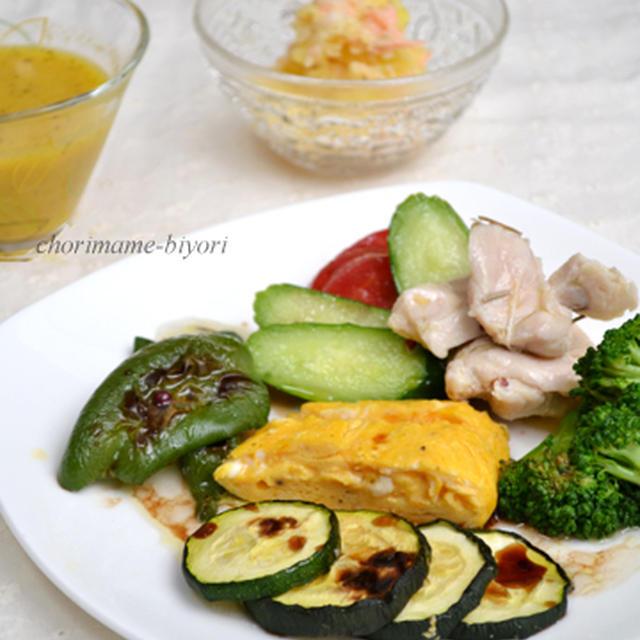 鶏むね肉のコンフィ・前菜仕立て。セロリとにんじんの冷製スープ。の晩ご飯。