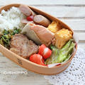 曲げわっぱ弁当、運動した後だから肉も魚も食べちゃおう!