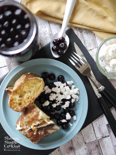 オヤツや朝ご飯に|【ゴロゴロ大きなブルーベリーとカッテージチーズのフレンチトースト】