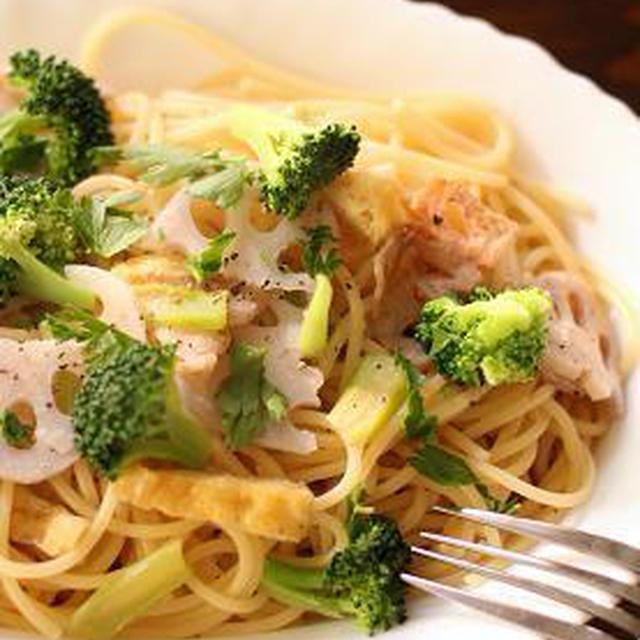 【レシピ】レンコンとブロッコリーのぺペロンチーノ♪