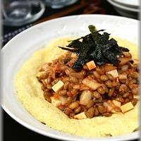 【ミツカン金のつぶ納豆】豆腐入り♪ふんわり卵と納豆コラボ