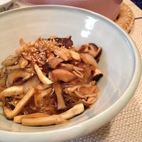 韓国料理の定番 チャプチェを手軽に日々のお惣菜に「きのこのチャプチェ」。