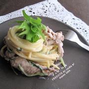 水菜と豚肉の和風豆乳クリームパスタ