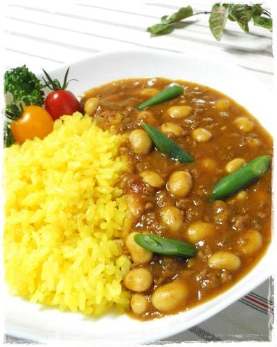 パパッと作れる☆大豆とひき肉のカレー♪