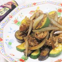 刺激的な辛さde野菜モリモリ『茄子とズッキーニと豚肉の黒胡椒炒め』