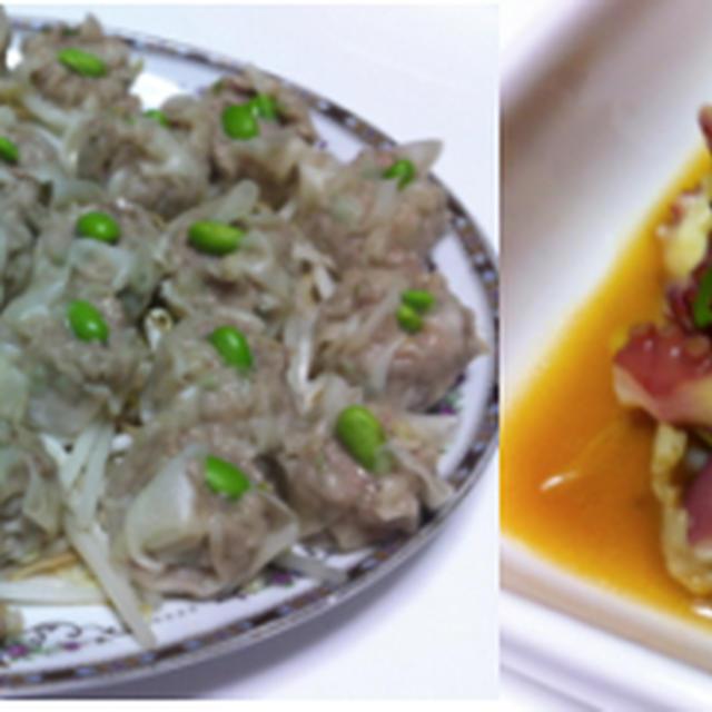 肉シュウマイ、豆腐とほうれん草塩煮込み、タコの中華風酢の物