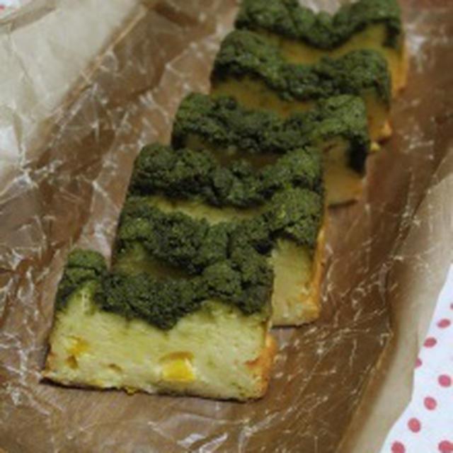 抹茶クランブルの柚子チーズケーキ*