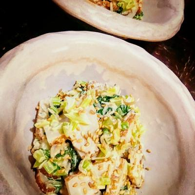 簡単副菜「さつま揚げと小松菜のマヨ味噌和え」