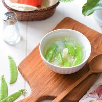【ネクストフーディスト】絹さやと春雨の中華スープ♡YOUKI『化学調味料無添加のガラスープ』
