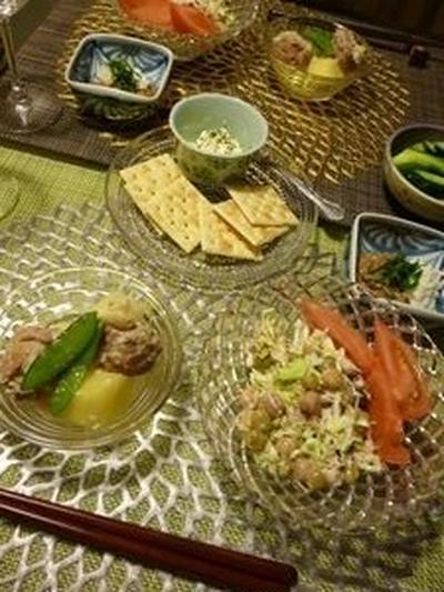 夕飯(鶏肉じゃが;塩麹)