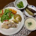タラのムニエルと野菜たっぷりの夕食