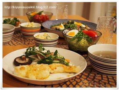ティーマに鱈のムニエルと春野菜の夜ごはん。
