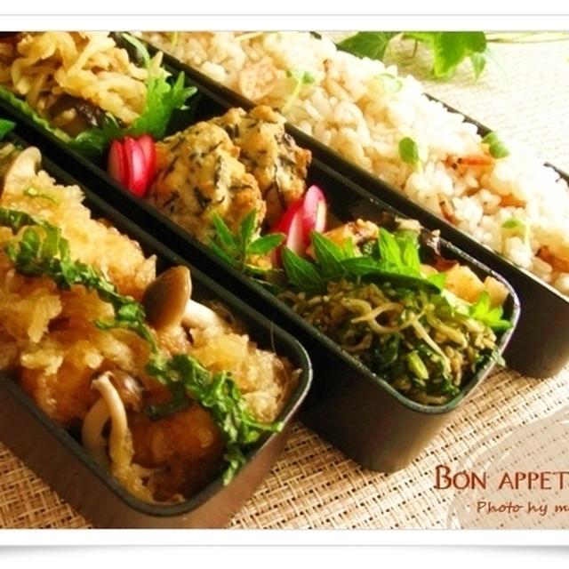 揚げ鶏としめじのみぞれ煮(レシピ有り)、桜海老ごはん~さっぱり、初夏のお弁当
