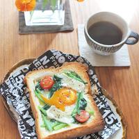 休日の朝ご飯♪ほうれん草とトマトの玉子トースト