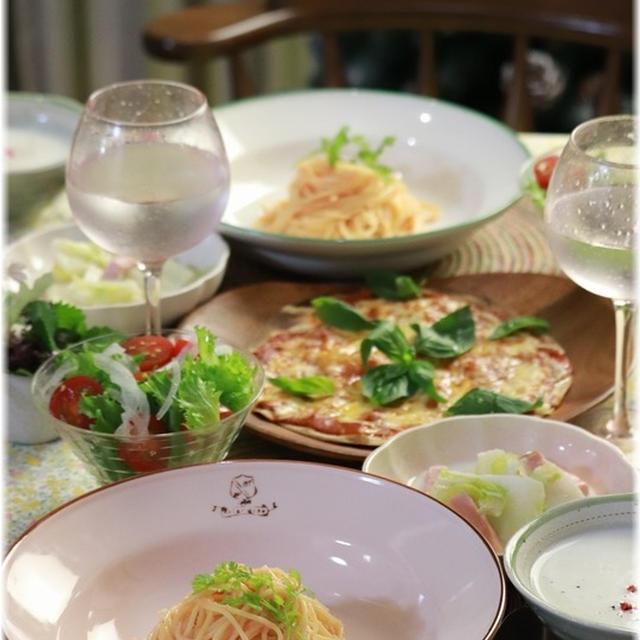 【レシピ・リンク】たらこパスタとマルゲリータ。と献立。と 贅沢の源。