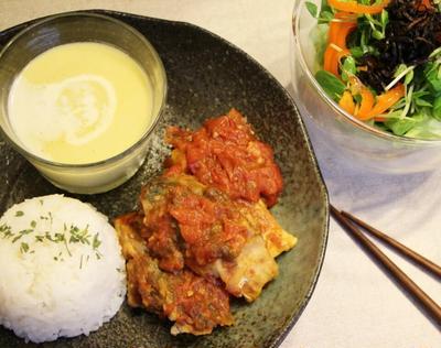 鯖のトマト煮込みの夕ご飯*朝のスープをリメイク*冷製コーンポタージュ