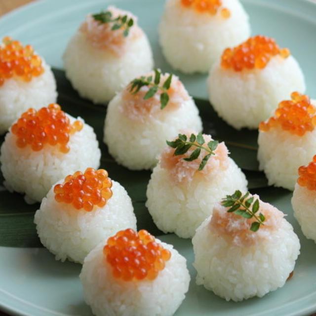 おもてなしや持ち寄りにも・いくらとカニの手まり寿司