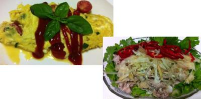 トマトバジルオムレツ、豚しゃぶサラダ風、枝豆ポタージュ