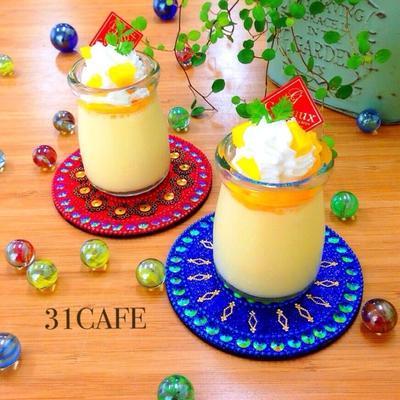 ♡混ぜて冷やして超簡単♡丸ごと桃のヨーグルトプリン♡