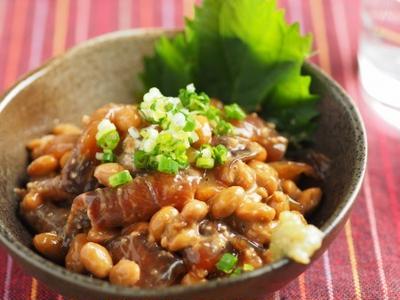 しょうゆ麹漬け刺身の納豆和え
