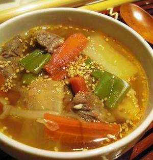 具たくさん!韓国風スープ。