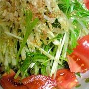 シャキッと水菜と大根のゴマおかかサラダ