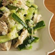 レンチン蒸し鶏で簡単!鶏むね肉ときゅうりのネギ塩だれ
