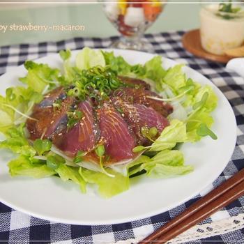 カツオの韓国風カルパッチョ風サラダ・アスパラ・コーン・チーズの冷製茶わん蒸し等・・ひんやり晩御飯