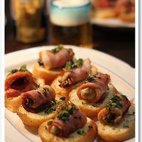 牡蠣ベーコンのブルスケッタ