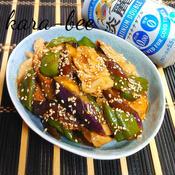 夏野菜と豚肉の甘辛スパイシークミン炒め
