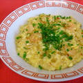 豆板醤でピリ辛ふわふわ卵粥