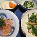 鯵の酢油漬け&小松菜と薩摩揚げの生姜炒め&胡瓜のこぼれ梅和え