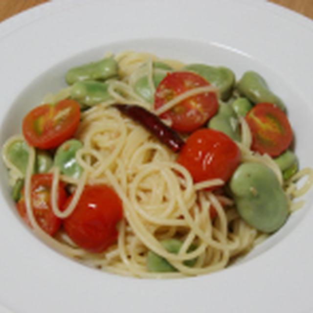 そら豆とミニトマトのペペロンチーノ