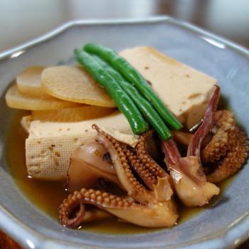 豆腐とゲソの煮物 さっぱり甘酢塩昆布和え