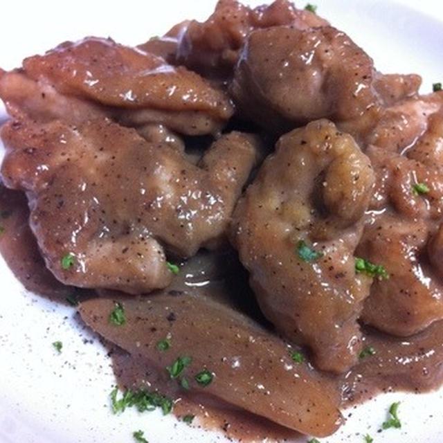 赤ワインに合う鶏モモ肉の鶏レバーソース煮込み