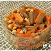 作り置き:大豆とこんにゃくと人参のほんのり甘い旨煮