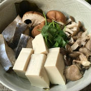 鰆と茸たっぷりのちり蒸し&柿とルッコラの酢の物&アライグマ