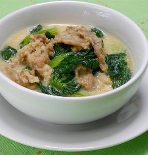 超簡単!お疲れ週末にはやさしくとろ〜り、豚肉と青菜の具沢山豆乳おかずスープ。