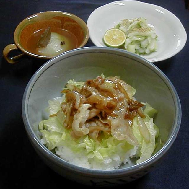 豚生姜焼き丼&玉葱スープ