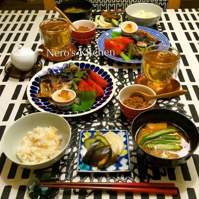 塩さば定食・茄子エリンギ小松菜の唐辛子味噌炒め♪