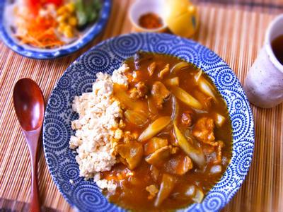 糖質オフ♪豆腐のお蕎麦屋さんのカレーライス風♪