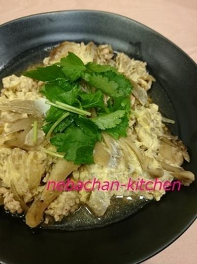 鶏ひき肉の柳川風
