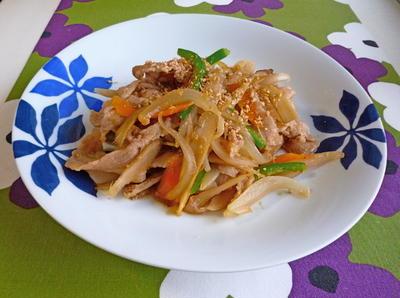 豚肉と根菜の生姜炒め