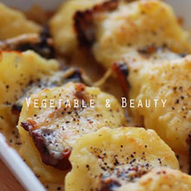 【健】 ポテトのミルク煮とさんま蒲焼のチーズ焼き