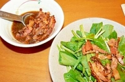 【うちレシピ】ホウレンソウサラダに♪カリカリベーコンドレッシング