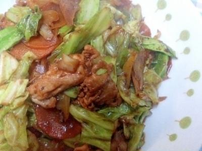 にんじんとキャベツの回鍋肉