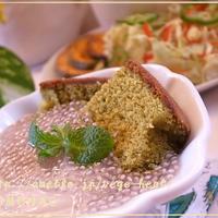 米粉クリームとチアシード♪抹茶カステラで介護食デザート