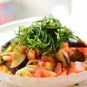 トマトと茄子の冷製和風スパゲティ