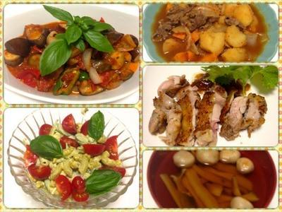 ラタティーユ、マカロニと玉子のバジルサラダ、キムチ肉じゃが 7/26まとめ